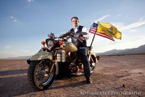 Not just wearing a bowtie on a motorcycle, but really? A Teabag flag?